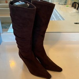 Dark Brown Heeled Tall Boots - Size 7.5